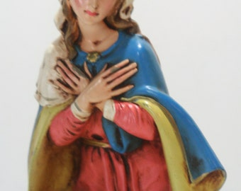 "CHRISTMAS CLEARANCE Vintage 12"" Scale Large Fontanini Paper Mache Nativity Figure  Virgin Mary Florentine Made in Italy Creche"
