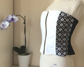 Black and White - Lace Casual Corset with Completely Separating Zipper - Medium