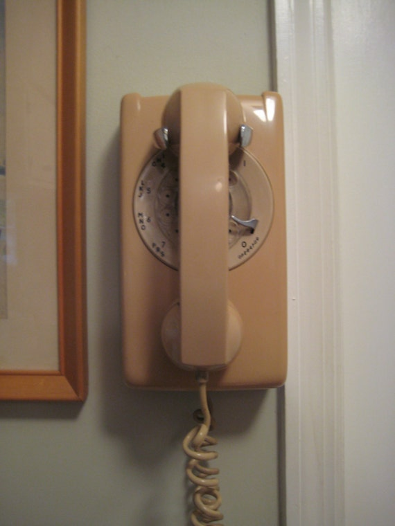 Vintage Rotary Wall Phone Beige 1982 Northern Telecom