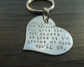 Personalized Hand Stamped Heart Keychain - Mother of the Bride Gift - Gift for Mom - Key Chain - Keychain - Gift for Her