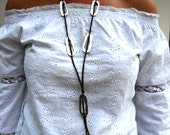 Brown Long Necklace, Leather Boho Fashion, Gypsy Necklace, Brown Boho Necklace, Oval Hoop, Cowgirl Jewelry