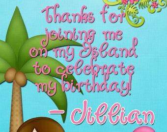Hawaiian Luau Thank you Card