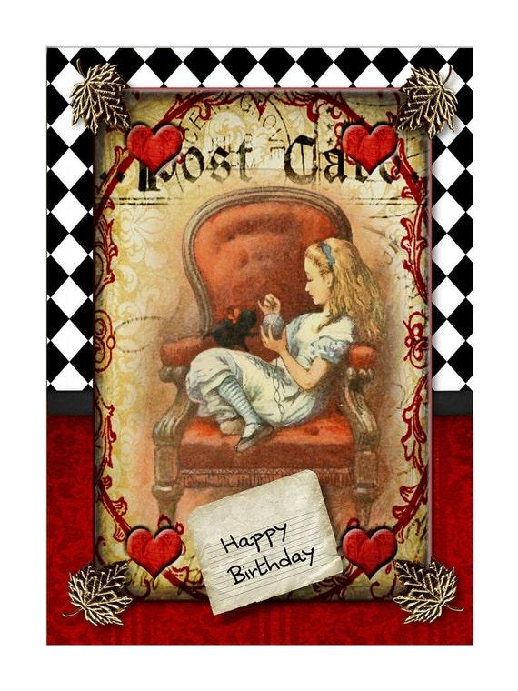 Digital Printable Birthday Card Alice in Wonderland Theme – Alice in Wonderland Birthday Cards
