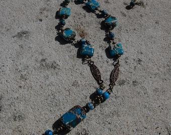 NEW - Imperial Jasper and Vintaj Brass Necklace 3663n