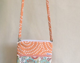 Cross Body Hipster Bag, Orange and Paisly, Two Zippers
