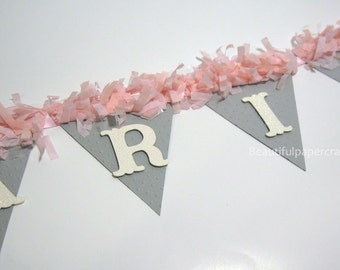 Pink and Gray Baby Shower Decorations | Sweet Baby Banner | pom pom NAME Banner | Pink and Gray Girl Banner