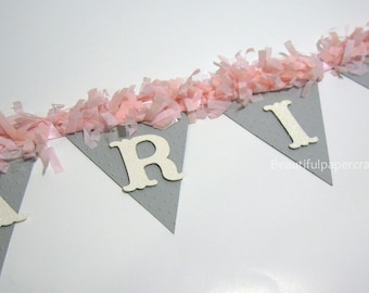 Pink And Gray Baby Shower Decorations | Sweet Baby Banner | Pom Pom NAME  Banner |