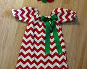 Baby Girls Christmas Dress, Red chevron Dress,Monogrammed Christmas dress, Girls Christmas outfit, Red Green Dress, toddler dress, mudan