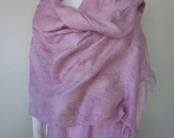 Huge Naturally Dyed with Cochineal  Nuno-felted Shawl