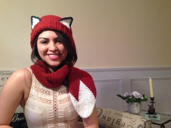 Crocheted Fox Scarf - Hat (Scat)