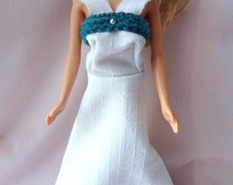Handmade White Barbie Doll Dress, Retro Barbie Summer Gown with Silver Beads and Green Trim