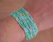 Crochet beaded bracelet..Neon mint multicolor, Woman Cuff Bracelet, Fashion Summer Jewelery Bracelet, Knit Cuff Bracelett
