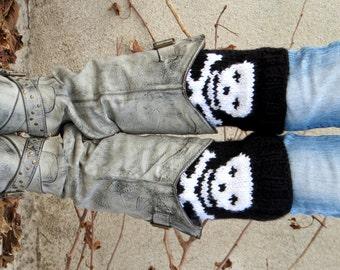 Halloween Accessories Skull Boot Cuffs, Skeleton Accessory, Knit Socks Skull Legwarmers Black White, Boot Socks, Skull boot cuffs, Fall