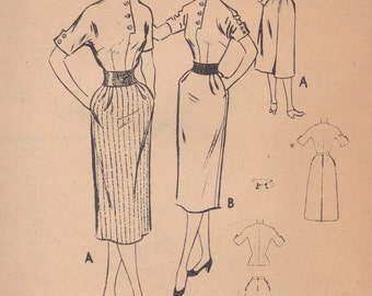 Early 1950s Blouse & Pencil Skirt Pattern McCalls 9196 Size 11 Uncut
