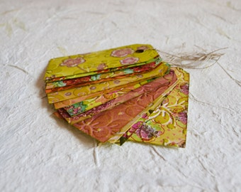 Dozen gift tags with strings flower embossed