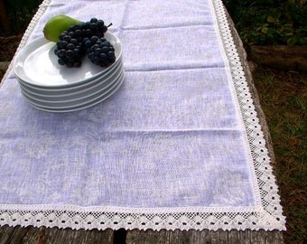 White Sheer Linen Table Runner / Placemat for Two / Wedding Table Decor /  Pure Linen / White Linen Lace
