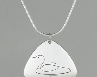 "Calligraphic Loon Pendant, Sterling Silver Rounded Triangle Disc, 7/8"" high"
