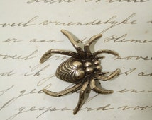Brass Spider Stamping Oxidized Creepy Gothic Goth Arachnia