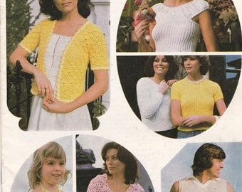 Touch of Ice - Knitting and Crochet Pattern No 464 for Family Vintage 1970s