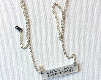 The Doors Jewelry // Love Me Two Times Necklace // Rock Music Jewelry // Bar Necklace // Lyrics Necklace // Minimalist Necklace