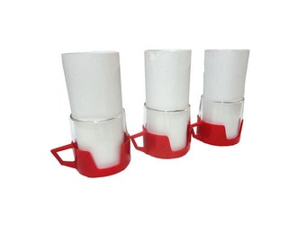 Vintage Hot Cold Mugs, Red Mid Century Space Age Cups Kitchen Glasses