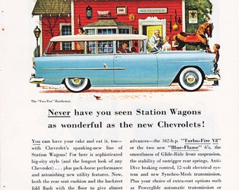 vintage ad for a 1950's blue Chevrolet wagon, from 1955.