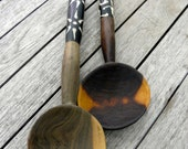 Vintage Handmade Wooden & Bone Kitchen Salad Set, Rustic, Hand Carved, Cat not Included