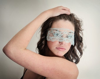Masquerade Mask Blue Lace Strapless Mask Light Baby Blue
