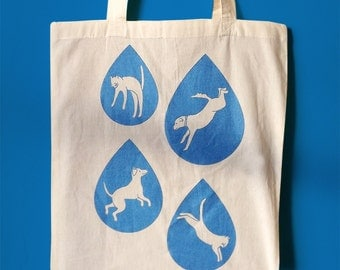 Raining Cats and Dogs Tote Bag, Blue Sparkly Handprinted Tote, Cat tote bag, Screenprint Bag, Cats Dogs Tote, Rain Design,Raindrops tote bag