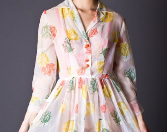 SALE 50% OFF 60s Vintage Sheer Day Dress in Ivory Floral