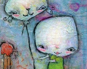 Look! - ACEO Art Print - mixed media, aqua hair girl, quirky weird naive ATC