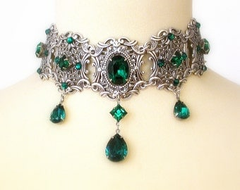 Emerald Swarovski Crystal Choker Bridal Silver Necklace Victorian Gothic Wedding Jewelry