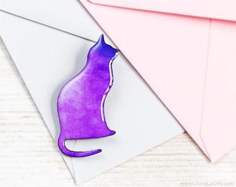 Purple cat pin brooch, Cat jewelry, Romantic jewelry, cat silhouette, purple brooch, woodland jewelry, animalistic brooch, coloful