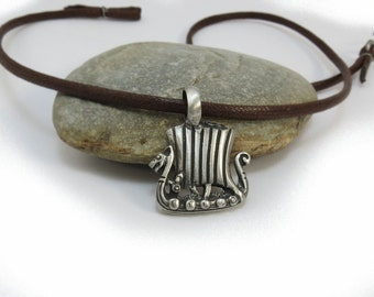 Viking Jewelry - Boat Necklace, Mens Jewelry - Norse Pendant, Viking Dragon Boat - Ship Necklace