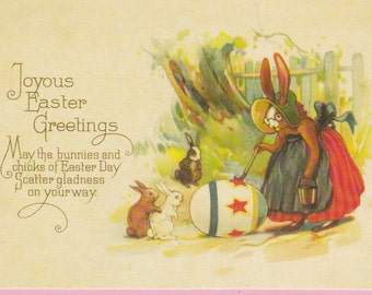 Large Easter Greetings Postcard w/ Motto, Bunnies and Mother Rabbit - 1290