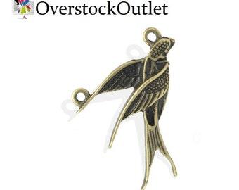 4 Flying Bird Sparrow Charm - AC404 Bronze
