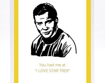 Funny Illustrated Captain Kirk Star Trek Birthday Card