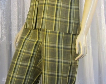 Vintage 90's Rena Rowan 2 PC olive green plaid capris set with mandarin collar tunic top size 8