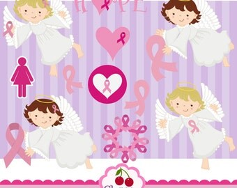 Awareness Ribbon Breast Cancer,Breast Cancer Awareness Clip Art -Breast Cancer Angel-Personal and Commercial Use