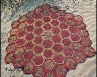 No.262 Crochet Pattern PDF Vintage - Turtle Shell Hexagonal Rug - Retro Crochet Pattern - Bedroom, Living Room, Kitchen