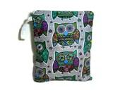 Owls on gray cloth diaper wet bag waterproof  zipper eco friendly medium swim bathing jewel tone woodland