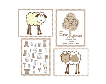 Lamb nursery prints/Personalized  Lambie Nursery set/ 4 8x10 lamb prints/ lamb nursery wall prints