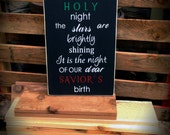 Oh Holy Night Christmas Sign-Black Sign with White, Red, Green Letters-Christian-Holidays-Christmas