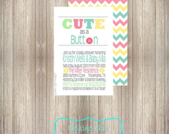 Chevron Cute As A Button Baby Shower Invitation Baby Girl Baby Boy Baby
