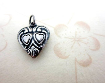 CLEARANCE SALE Art Nouveau sterling silver puffy heart charm pendant - authentic 925 antique sweetheart charm - lovers heart pendant