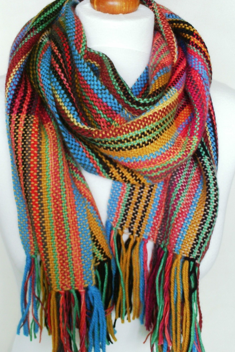 colourful handwoven scarf woven scarf by