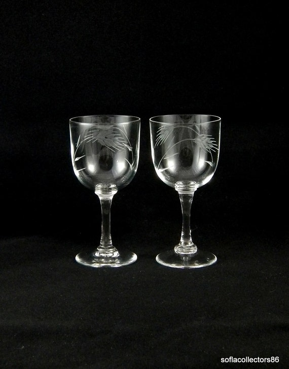 Sherry Glasses or Port Wine Glasses with Gray Cut Wheat