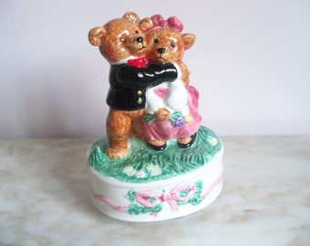 Schmid Hugging Bears Music Box I Only Have Eyes For You Excellent Condition