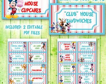 INSTANT DOWNLOAD Mickey Mouse Clubhouse Carnival Food Tents Editable