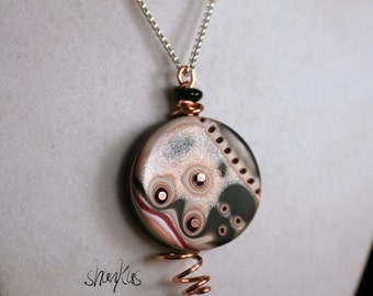 Polymer Clay Pendant - with wire - WEARABLE ART!!!!